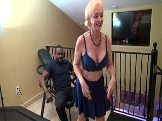 Blonde Mother Seducing Young Black Man. Creampie Lust