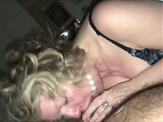 Hot horny granny sucking dick till cum