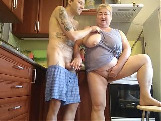 she jerks off my cock and masturbates her pussy