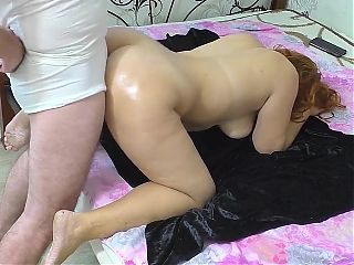 Gave mom a massage and anal creampie