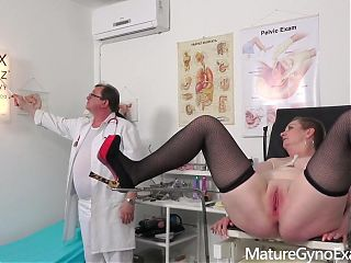 Filthy gyno doctor examines senior cunts