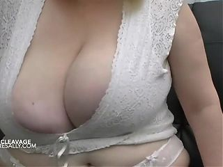 A look at Sally's big tits and deep cleavage