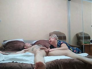 dick massage and blowjob with cum in mouth