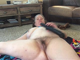 BBW mom with hairy pussy naked stretching 12 inch bbc dildo