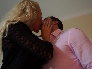Lovely mom takes big white cock