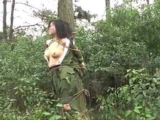 Chinese Army Girl Tied to Tree (BDSM, Whipping)