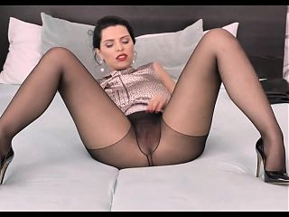 Beautiful Kira Queen Teasing You In Black Pantyhose