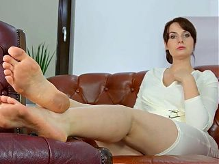 Sexy lady showing her dirty soles